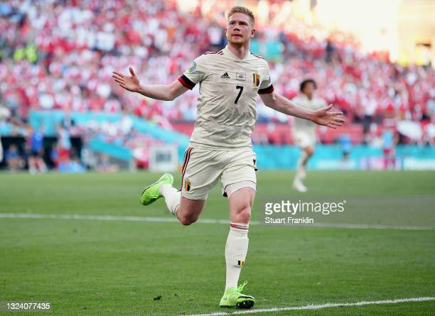 Kevin De Bruyne of Belgium celebrates after scoring their side's second goal during the UEFA Euro 2020 Championship Group B match between Denmark and...