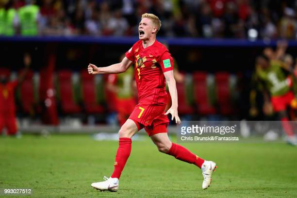 Kevin De Bruyne of Belgium celebrates after the 2018 FIFA World Cup Russia Quarter Final match between Brazil and Belgium at Kazan Arena on July 6...