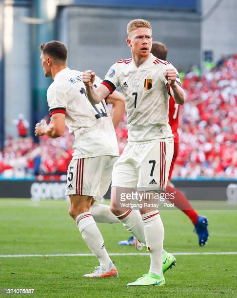 Kevin De Bruyne of Belgium celebrates after their side's first goal scored by Thorgan Hazard during the UEFA Euro 2020 Championship Group B match...
