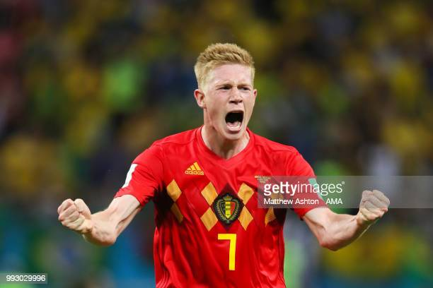 Kevin De Bruyne of Belgium celebrates at the end of the 2018 FIFA World Cup Russia Quarter Final match between Brazil and Belgium at Kazan Arena on...
