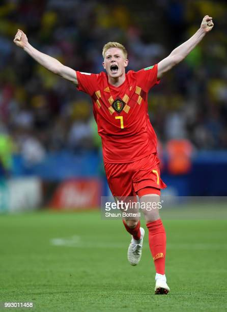 Kevin De Bruyne of Belgium celebrates following his sides victory in the 2018 FIFA World Cup Russia Quarter Final match between Brazil and Belgium at...