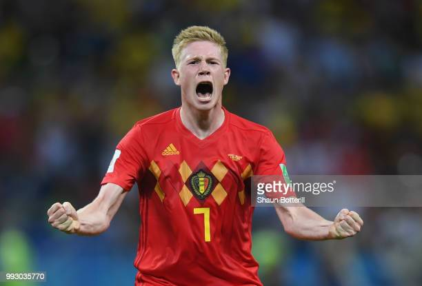a4bad4d89d1 Kevin De Bruyne of Belgium celebrates following his sides victory in the  2018 FIFA World Cup