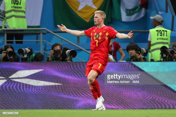 Kevin De Bruyne of Belgium celebrates scoring a goal to make it 02 during the 2018 FIFA World Cup Russia Quarter Final match between Brazil and...