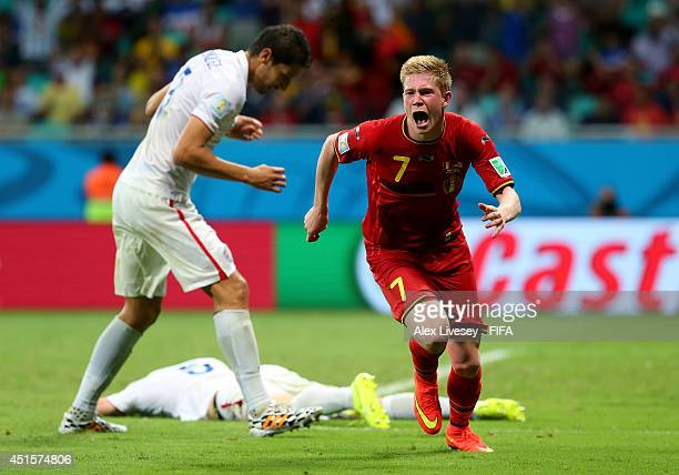 Kevin De Bruyne of Belgium celebrates scoring his team's first goal during the 2014 FIFA World Cup Brazil Round of 16 match between Belgium and USA...