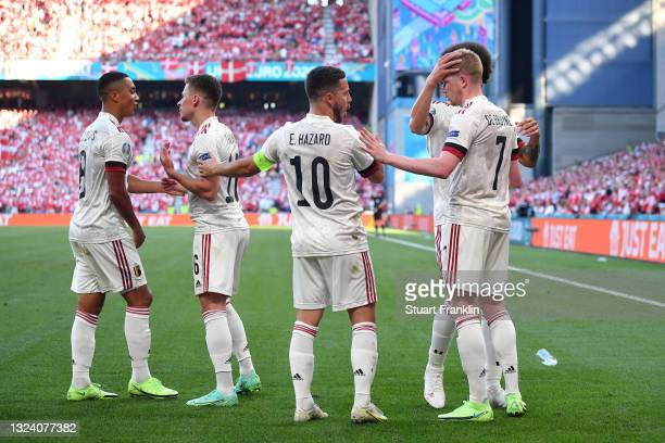 Kevin De Bruyne of Belgium celebrates with Eden Hazard after scoring their side's second goal during the UEFA Euro 2020 Championship Group B match...