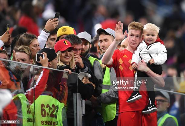 Kevin De Bruyne of Belgium celebrates with his son following his sides victory in the 2018 FIFA World Cup Russia Semi Final match between Belgium and...
