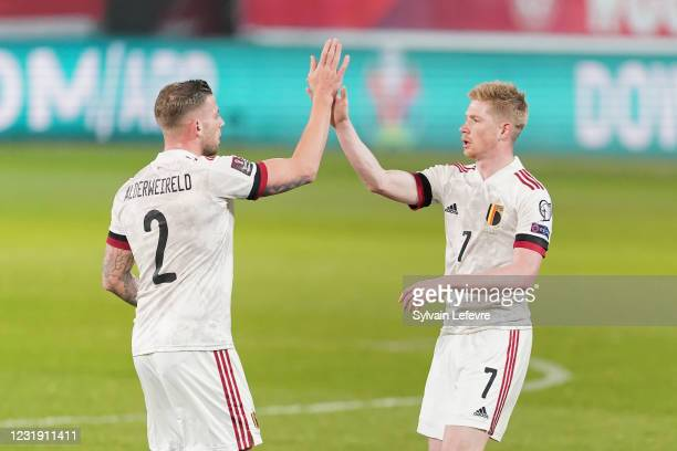 Kevin De Bruyne of Belgium celebrates with his team-mates after scoring his team's 1st goal during the FIFA World Cup 2022 Qatar qualifying match...