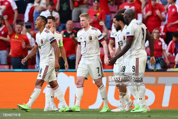 Kevin De Bruyne of Belgium celebrates with team mates after scoring their side's second goal during the UEFA Euro 2020 Championship Group B match...