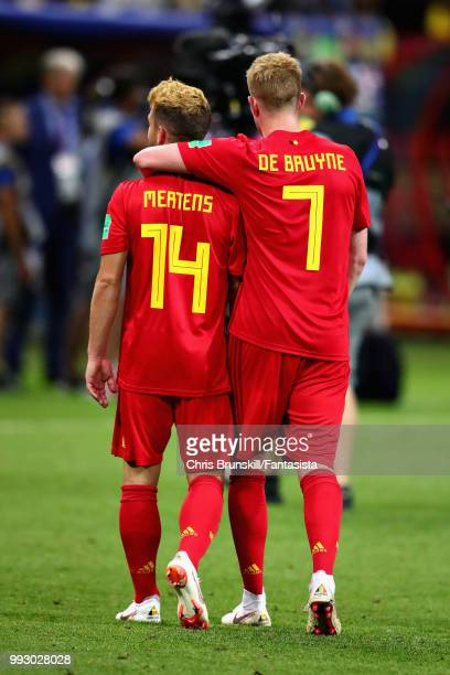 Kevin De Bruyne of Belgium celebrates with teammate Dries Mertens after the 2018 FIFA World Cup Russia Quarter Final match between Brazil and Belgium...