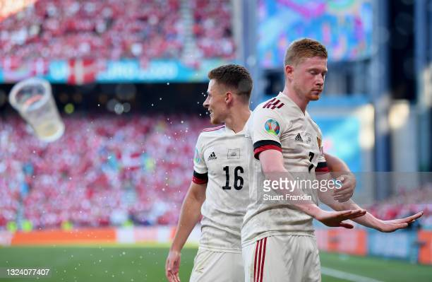 Kevin De Bruyne of Belgium celebrates with Thorgan Hazard after scoring their side's second goal during the UEFA Euro 2020 Championship Group B match...