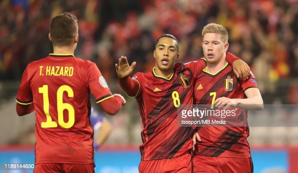 Kevin De Bruyne of Belgium celebrates with Youri Tielemans of Belgium after scoring a goal during the UEFA Euro 2020 Qualifier between Belgium and...