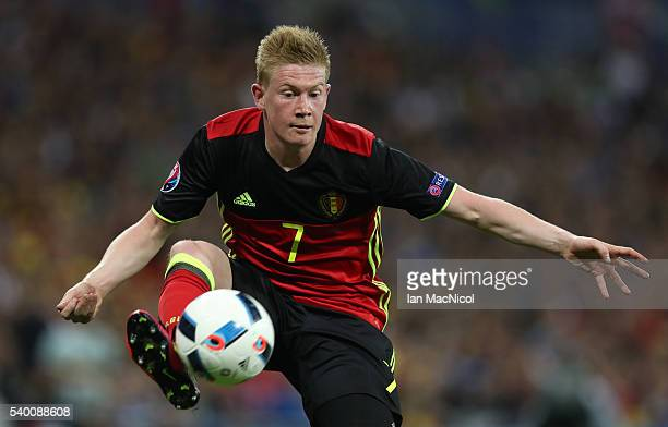 Kevin De Bruyne of Belgium controls the ball during the UEFA EURO 2016 Group E match between Belgium and Italy at Stade des Lumieres on June 13 2016...