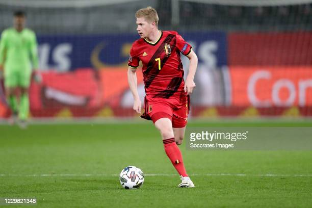 Kevin De Bruyne of Belgium during the UEFA Nations league match between Belgium v Denmark at the King Baudouin Stadium on November 18, 2020 in...