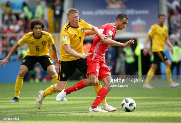 Kevin De Bruyne of Belgium Ellyes Skhiri of Tunisia during the 2018 FIFA World Cup Russia group G match between Belgium and Tunisia at Spartak...