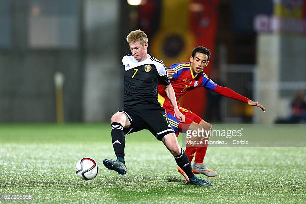 Kevin De Bruyne of Belgium evades Aaron Sanchez of Andorra during the UEFA European Championship 2016 qualifying Group B football match between...