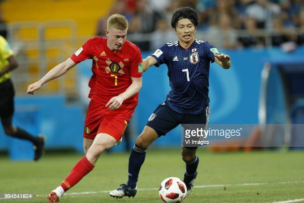 Kevin De Bruyne of Belgium Gaku Shibasaki of Japan during the 2018 FIFA World Cup Russia round of 16 match between Belgium and Japan at the Rostov...