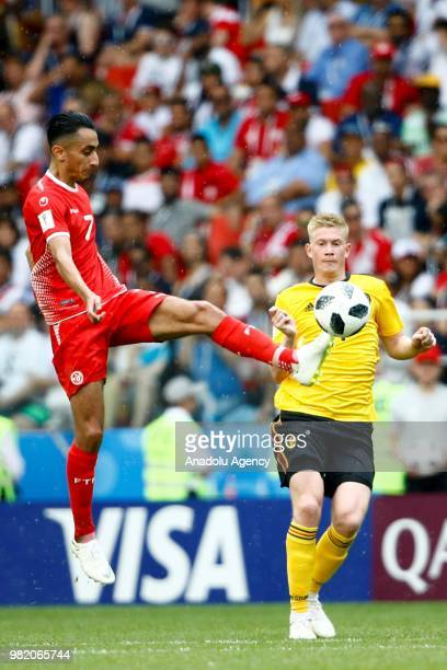 Kevin De Bruyne of Belgium in action against SaîfEddine Khaoui of Tunisia during the 2018 FIFA World Cup Russia group G match between Belgium and...