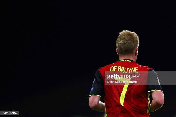 Kevin De Bruyne of Belgium in action during the FIFA 2018 World Cup Qualifier between Belgium and Gibraltar at Stade Maurice Dufrasne on August 31...