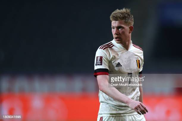 Kevin De Bruyne of Belgium in action during the FIFA World Cup 2022 Qatar qualifying match between Belgium and Wales at King Power at Den Dreef on...