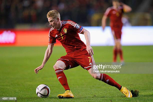 Kevin De Bruyne of Belgium in action during the Group B UEFA European Championship 2016 Qualifier match bewteen Belgium and Wales at King Baudouin...