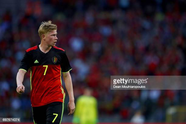 Kevin De Bruyne of Belgium in action during the International Friendly match between Belgium and Czech Republic at Stade Roi Baudouis on June 5 2017...