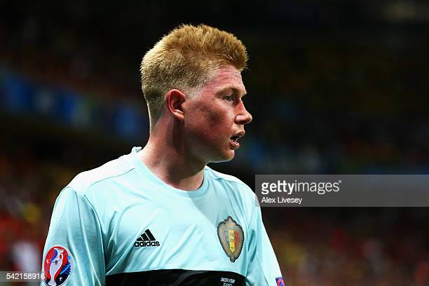 Kevin De Bruyne of Belgium in action during the UEFA EURO 2016 Group E match between Sweden and Belgium at Allianz Riviera Stadium on June 22 2016 in...