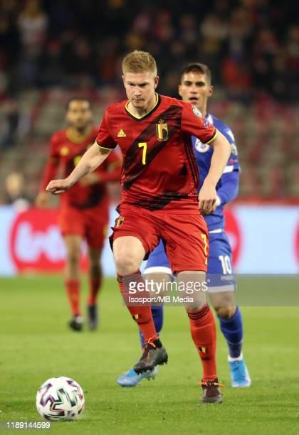 Kevin De Bruyne of Belgium in action during the UEFA Euro 2020 Qualifier between Belgium and Cyprus on November 19, 2019 in Brussels, Belgium.