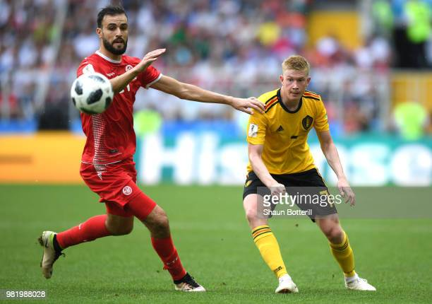 Kevin De Bruyne of Belgium is challenged by Hamdi Naguez of Tunisia during the 2018 FIFA World Cup Russia group G match between Belgium and Tunisia...