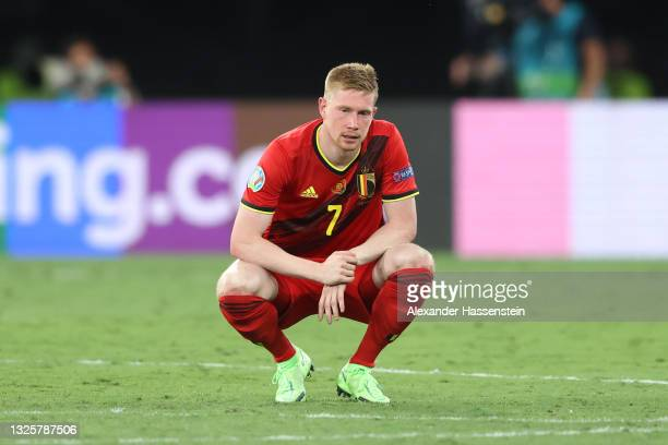 Kevin De Bruyne of Belgium looks dejected as he is forced off after suffering an injury during the UEFA Euro 2020 Championship Round of 16 match...