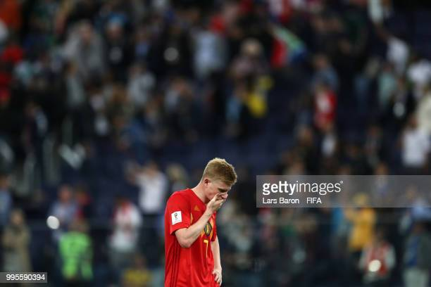 Kevin De Bruyne of Belgium looks dejected following his sides defeat in the 2018 FIFA World Cup Russia Semi Final match between Belgium and France at...