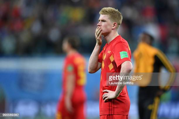 Kevin De Bruyne of Belgium looks dejected following their sides defeat in the 2018 FIFA World Cup Russia Semi Final match between Belgium and France...