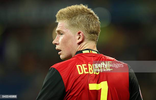 Kevin De Bruyne of Belgium looks on during the UEFA Euro 2016 Group E match between Belgium and Italy at Stade de Lyon Parc OL on June 13 2016 in...