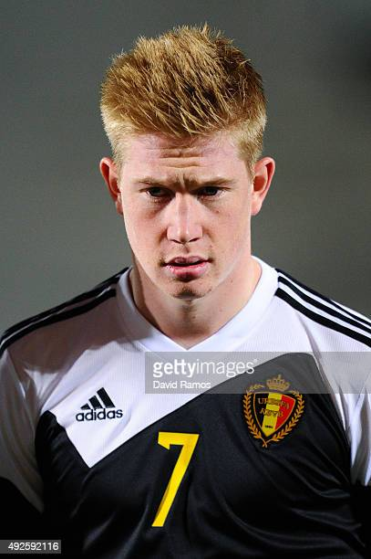 Kevin De Bruyne of Belgium looks on during the UEFA EURO 2016 Qualifier match between Andorra and Belgium at Estadi Nacional d'Andorra la Vella on...