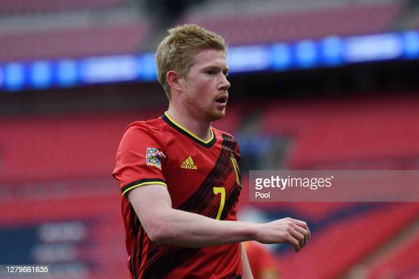 Kevin De Bruyne of Belgium looks on during the UEFA Nations League group stage match between England and Belgium at Wembley Stadium on October 11,...