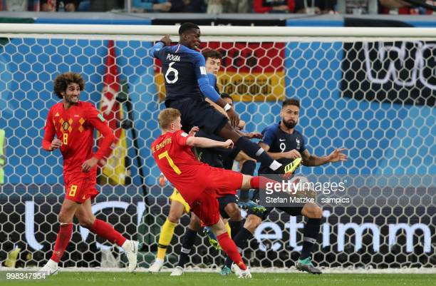 Kevin De Bruyne of Belgium Paul Pogba of France during the 2018 FIFA World Cup Russia Semi Final match between Belgium and France at Saint Petersburg...
