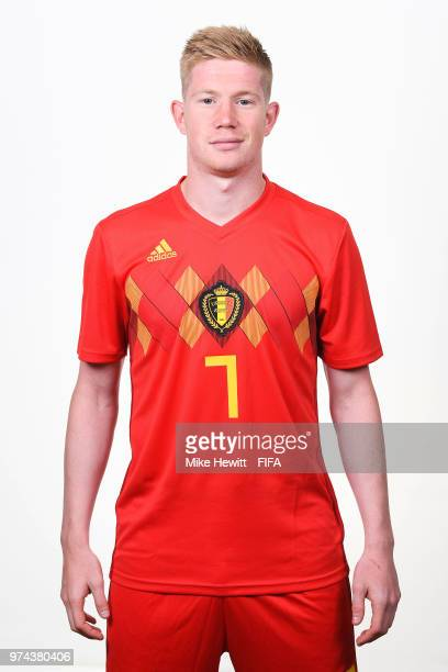 Kevin De Bruyne of Belgium poses for a portrait during the official FIFA World Cup 2018 portrait session at the Moscow Country Club on June 14 2018...