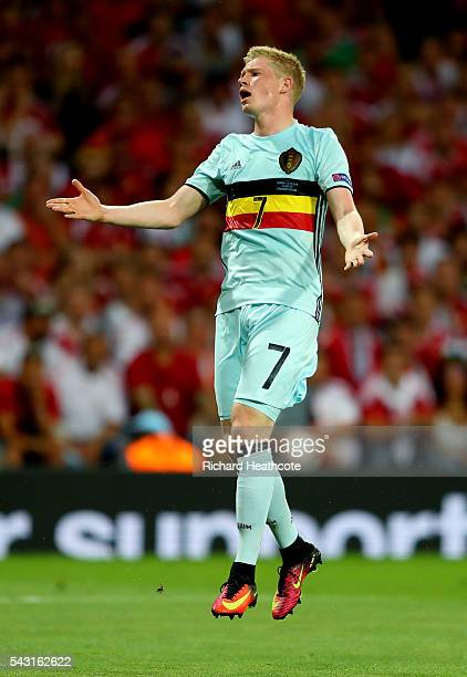 Kevin De Bruyne of Belgium reacts after missing a chance during the UEFA EURO 2016 round of 16 match between Hungary and Belgium at Stadium Municipal...