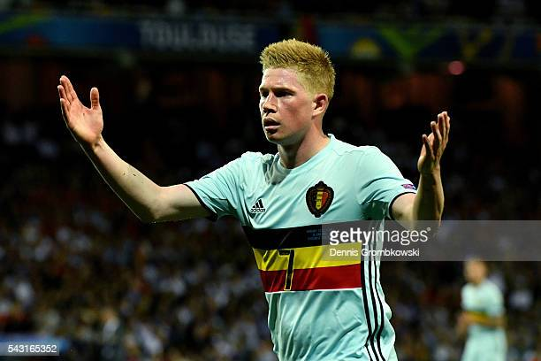 Kevin De Bruyne of Belgium reacts during the UEFA EURO 2016 round of 16 match between Hungary and Belgium at Stadium Municipal on June 26 2016 in...