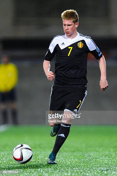 Kevin De Bruyne of Belgium runs with the ball during the UEFA EURO 2016 Qualifier match between Andorra and Belgium at Estadi Nacional d'Andorra la...