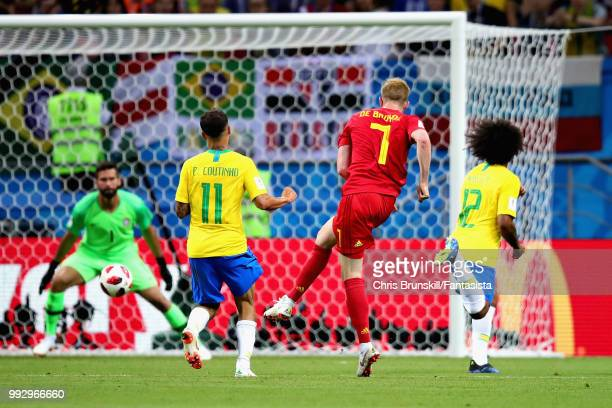 Kevin De Bruyne of Belgium scores his sides second goal during the 2018 FIFA World Cup Russia Quarter Final match between Brazil and Belgium at Kazan...