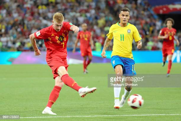 Kevin De Bruyne of Belgium scores his side's second goal during the 2018 FIFA World Cup Russia Quarter Final match between Brazil and Belgium at...