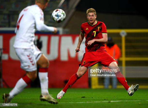 Kevin De Bruyne of Belgium scores his teams fourth goal of the game during the UEFA Nations League group stage match between Belgium and Denkmark at...