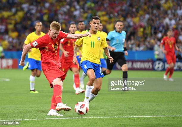 Kevin De Bruyne of Belgium scores his team's second goal during the 2018 FIFA World Cup Russia Quarter Final match between Brazil and Belgium at...