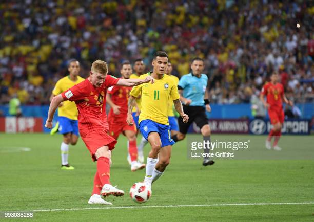 Kevin De Bruyne of Belgium scores the second goal during the 2018 FIFA World Cup Russia Quarter Final match between Brazil and Belguim at Kazan Arena...