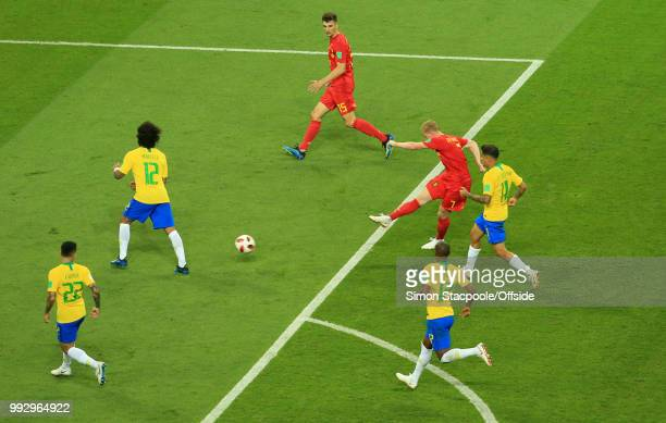 Kevin De Bruyne of Belgium scores the second goal for his team during the 2018 FIFA World Cup Russia Quarter Final match between Brazil and Belgium...