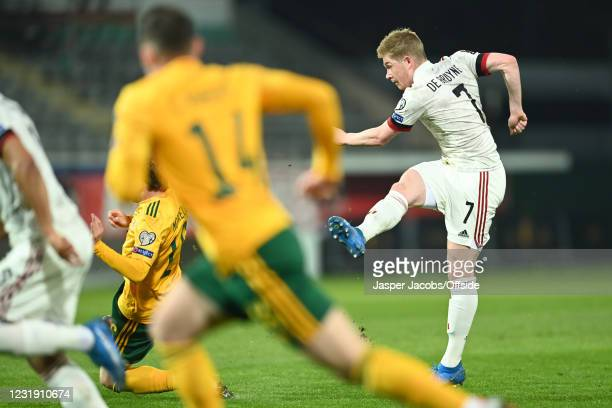 Kevin De Bruyne of Belgium scores their 1st goal during the FIFA World Cup 2022 Qatar qualifying match between Belgium and Wales on March 24, 2021 in...