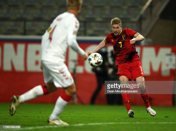Kevin De Bruyne of Belgium scores their team's fourth goal during the UEFA Nations League group stage match between Belgium and Denmark at King Power...