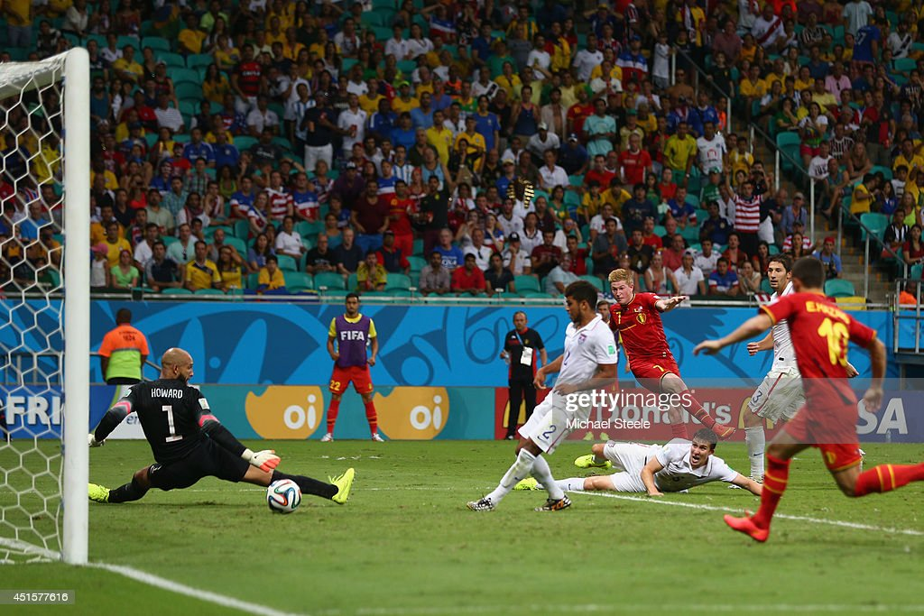 Kevin De Bruyne of Belgium shoots and scores his team's first goal past Tim Howard of the United States in extra timeduring the 2014 FIFA World Cup Brazil Round of 16 match between Belgium and USA at Arena Fonte Nova on July 1, 2014 in Salvador, Brazil.
