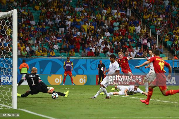 Kevin De Bruyne of Belgium shoots and scores his team's first goal past Tim Howard of the United States in extra timeduring the 2014 FIFA World Cup...