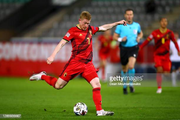 Kevin De Bruyne of Belgium shoots on goal during the UEFA Nations League group stage match between Belgium and England at King Power at Den Dreef...